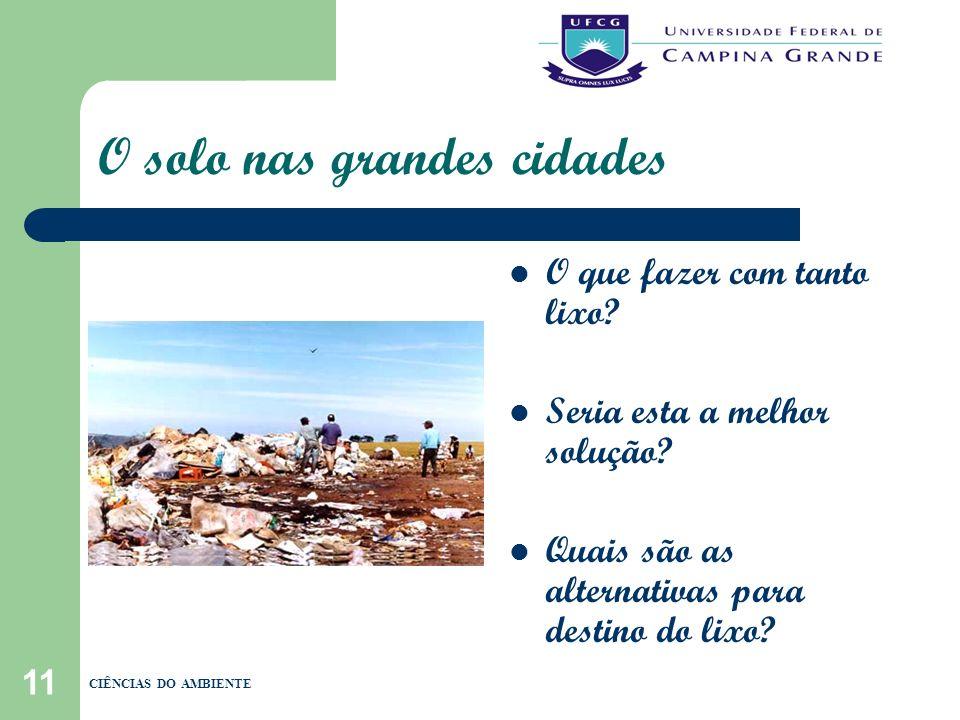 11 O solo nas grandes cidades O que fazer com tanto lixo? Seria esta a melhor solução? Quais são as alternativas para destino do lixo? CIÊNCIAS DO AMB