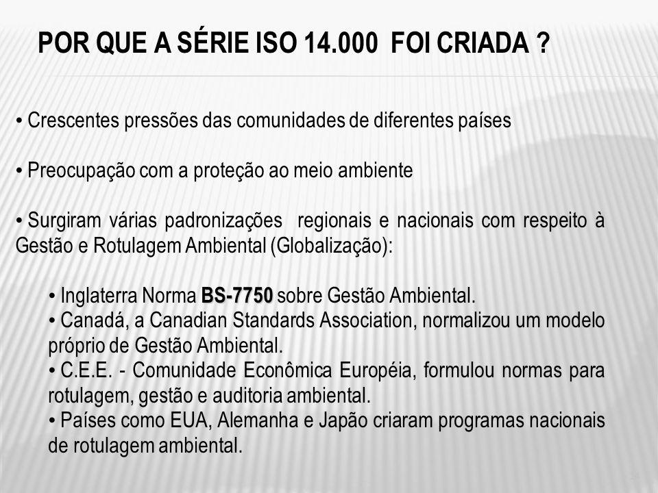 NBR-ISO 14000 – GESTÃO AMBIENTAL É um conjunto de normas técnicas referentes a métodos e análises, que possibilitam CERTIFICAR que: determinado PRODUT