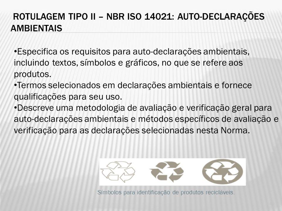 ROTULAGEM TIPO I – NBR ISO 14024: PROGRAMA SELO VERDE Estabelece os princípios e procedimentos para o desenvolvimento de programas de rotulagem ambien