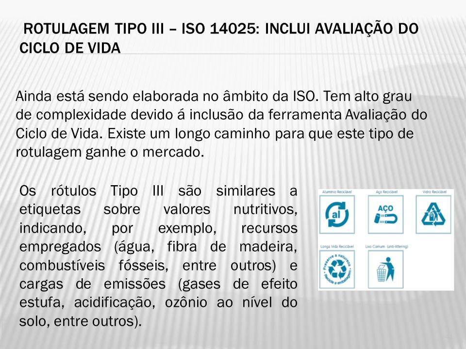 ROTULAGEM TIPO II – NBR ISO 14021: AUTO-DECLARAÇÕES AMBIENTAIS Especifica os requisitos para auto-declarações ambientais, incluindo textos, símbolos e