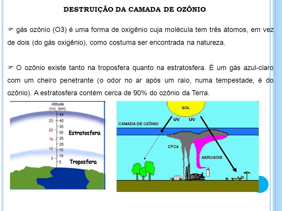 DESTRUIÇÃO DA CAMADA DE OZÔNIO gás ozônio (O3) é uma forma de oxigênio cuja molécula tem três átomos, em vez de dois (do gás oxigênio), como costuma s