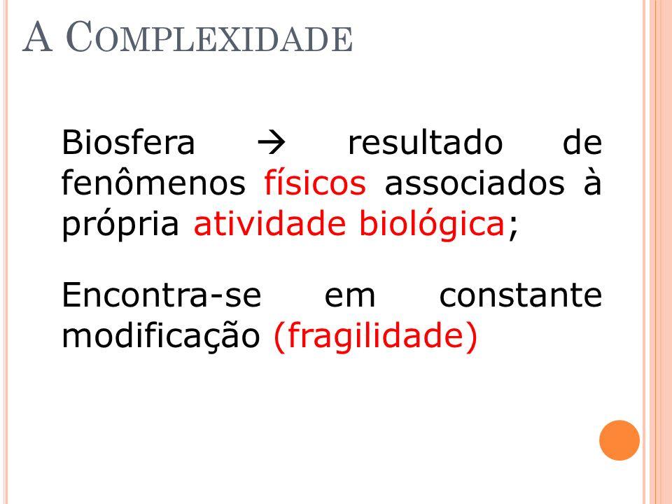 A C OMPLEXIDADE Biosfera resultado de fenômenos físicos associados à própria atividade biológica; Encontra-se em constante modificação (fragilidade)