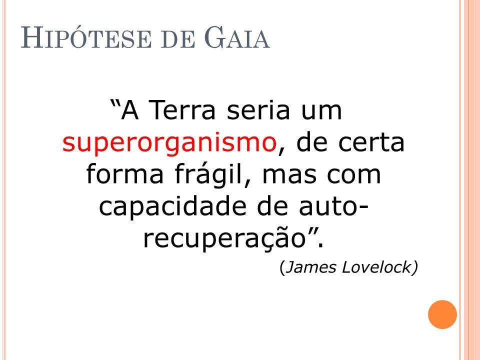 H IPÓTESE DE G AIA A Terra seria um superorganismo, de certa forma frágil, mas com capacidade de auto- recuperação. (James Lovelock)