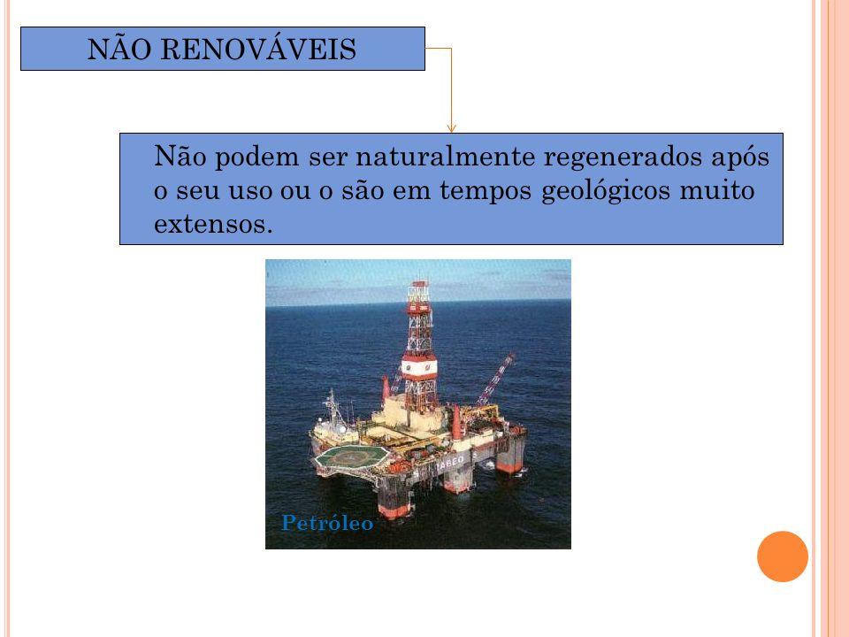 Não podem ser naturalmente regenerados após o seu uso ou o são em tempos geológicos muito extensos. NÃO RENOVÁVEIS Petróleo