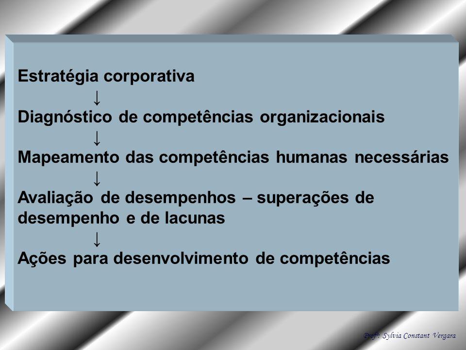 Estratégia corporativa Diagnóstico de competências organizacionais Mapeamento das competências humanas necessárias Avaliação de desempenhos – superaçõ