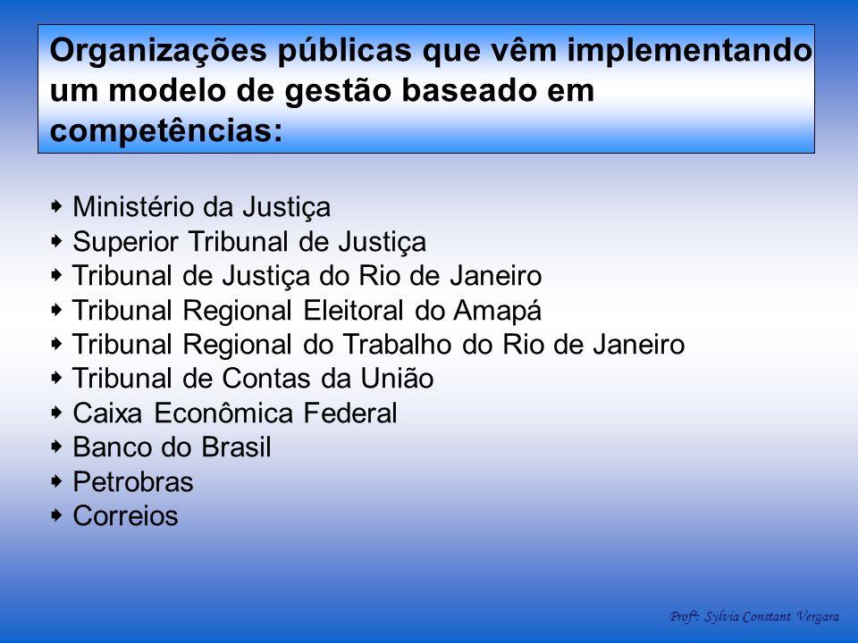Organizações públicas que vêm implementando um modelo de gestão baseado em competências: Ministério da Justiça Superior Tribunal de Justiça Tribunal d
