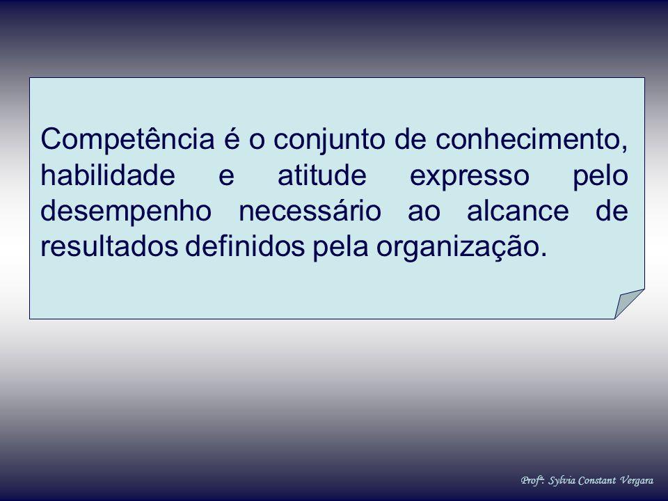 Competência é o conjunto de conhecimento, habilidade e atitude expresso pelo desempenho necessário ao alcance de resultados definidos pela organização