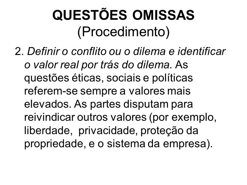 QUESTÕES OMISSAS (Procedimento) 2. Definir o conflito ou o dilema e identificar o valor real por trás do dilema. As questões éticas, sociais e polític