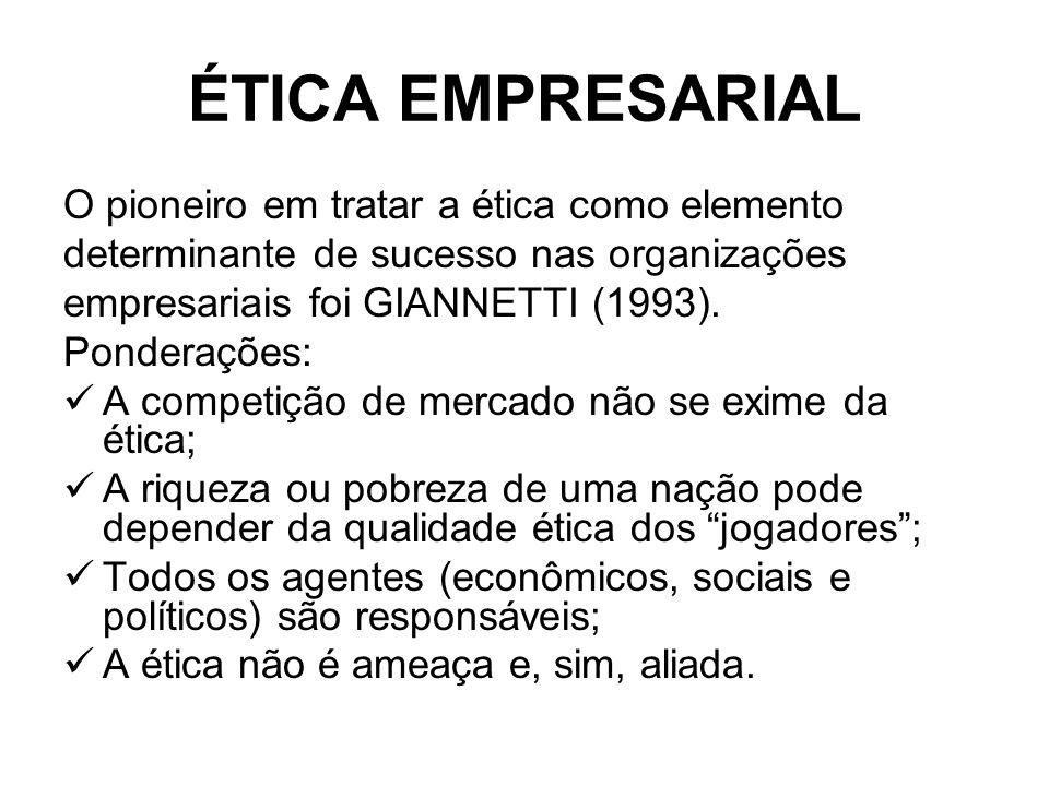 ÉTICA EMPRESARIAL O pioneiro em tratar a ética como elemento determinante de sucesso nas organizações empresariais foi GIANNETTI (1993). Ponderações: