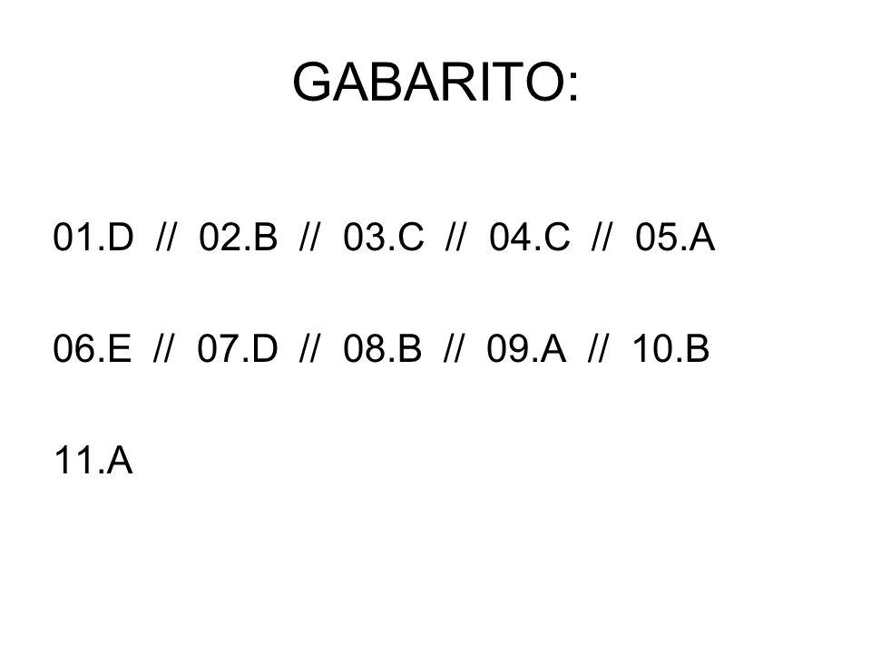 GABARITO: 01.D // 02.B // 03.C // 04.C // 05.A 06.E // 07.D // 08.B // 09.A // 10.B 11.A