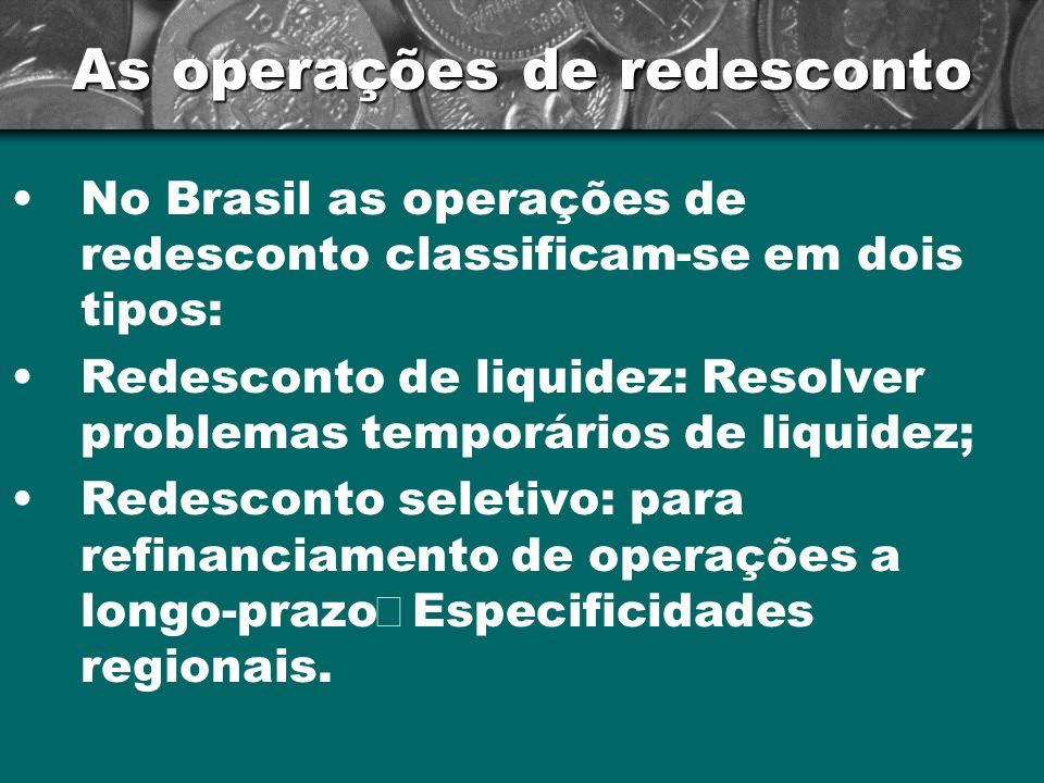 As operações de redesconto No Brasil as operações de redesconto classificam-se em dois tipos: Redesconto de liquidez: Resolver problemas temporários d
