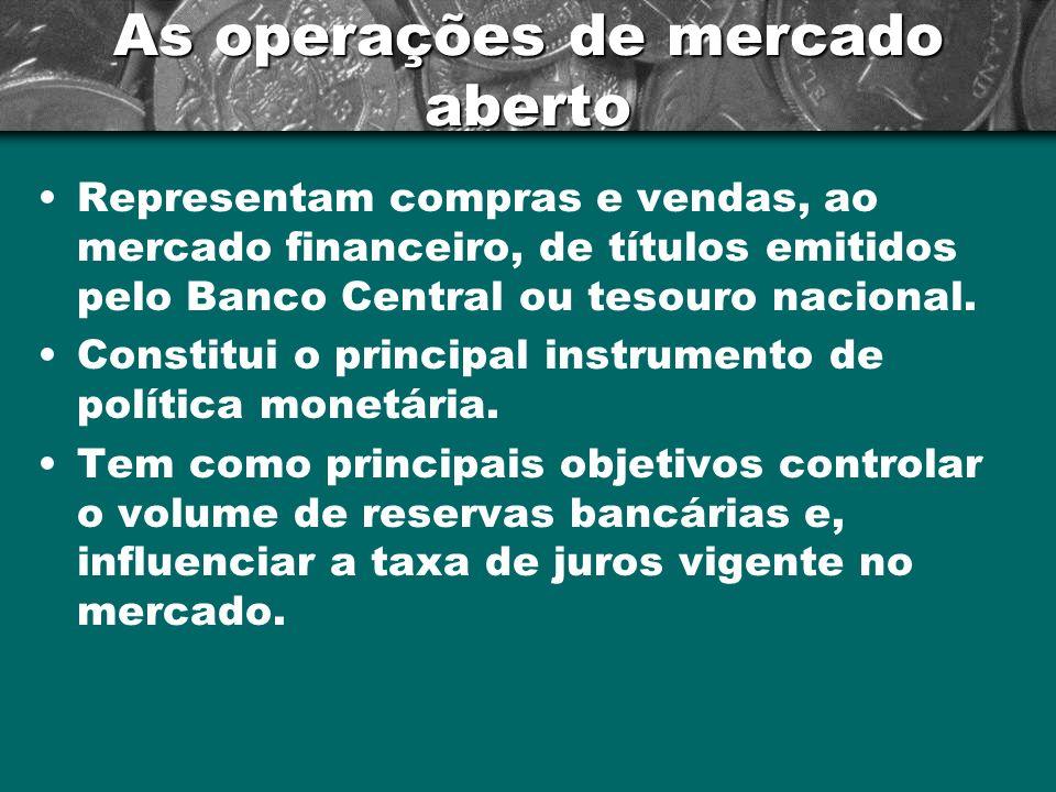 As operações de mercado aberto Representam compras e vendas, ao mercado financeiro, de títulos emitidos pelo Banco Central ou tesouro nacional. Consti