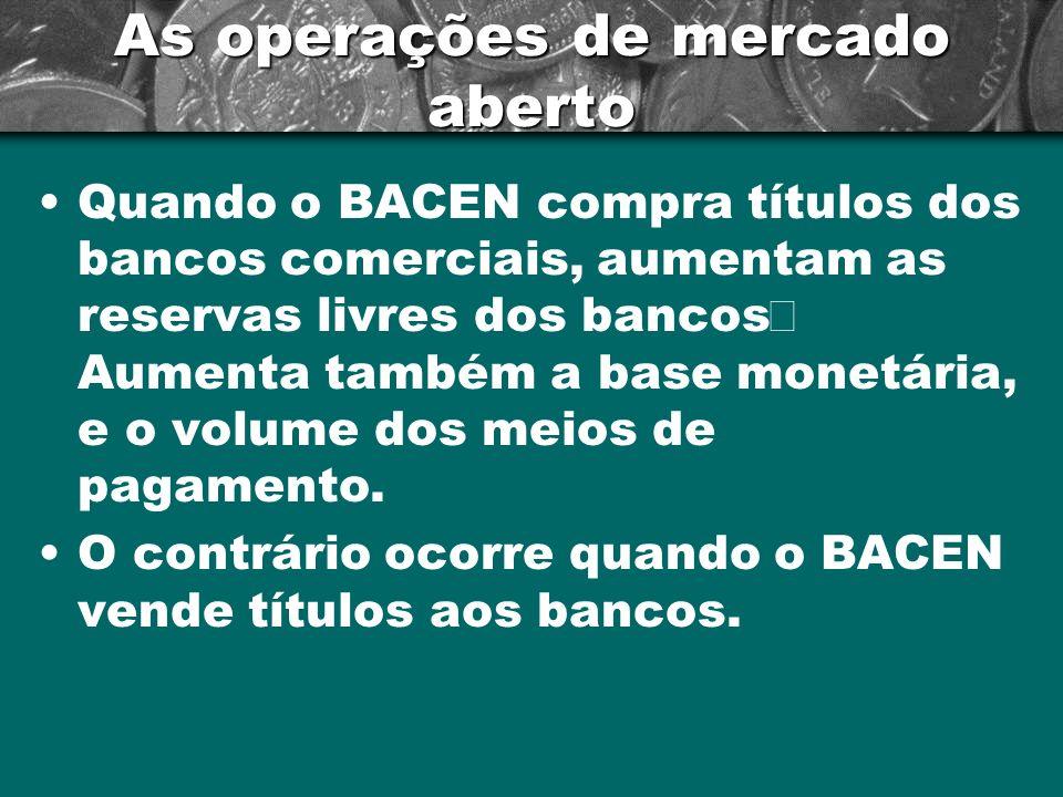 As operações de mercado aberto Quando o BACEN compra títulos dos bancos comerciais, aumentam as reservas livres dos bancos Aumenta também a base monet