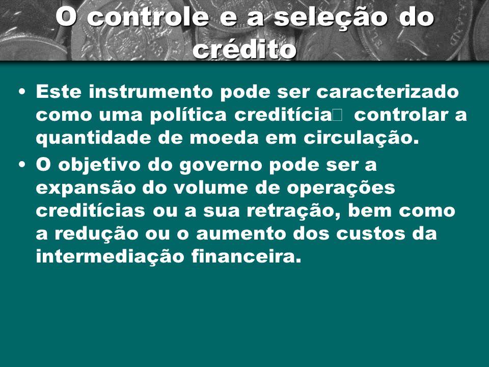 O controle e a seleção do crédito Este instrumento pode ser caracterizado como uma política creditícia controlar a quantidade de moeda em circulação.