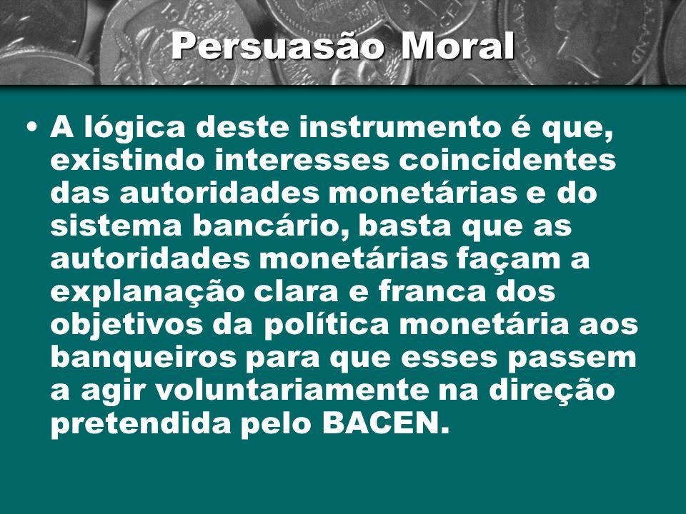 Persuasão Moral A lógica deste instrumento é que, existindo interesses coincidentes das autoridades monetárias e do sistema bancário, basta que as aut