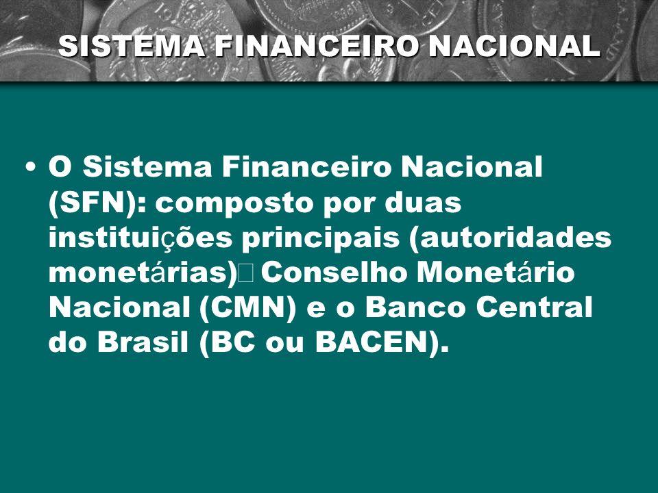 SISTEMA FINANCEIRO NACIONAL O Sistema Financeiro Nacional (SFN): composto por duas institui ç ões principais (autoridades monet á rias) Conselho Monet