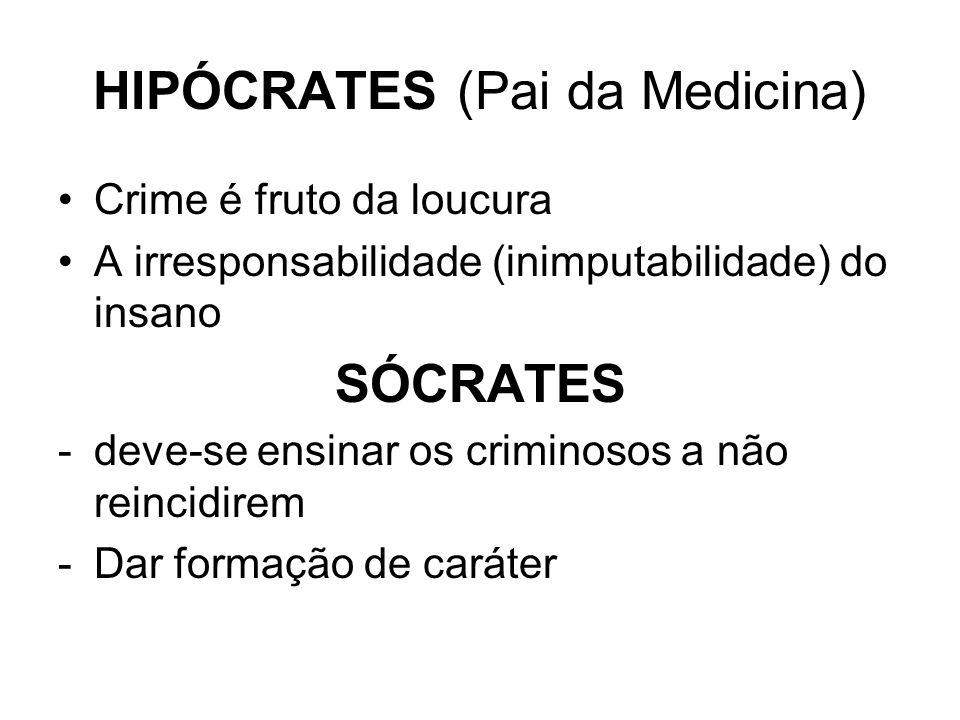 HIPÓCRATES (Pai da Medicina) Crime é fruto da loucura A irresponsabilidade (inimputabilidade) do insano SÓCRATES -deve-se ensinar os criminosos a não