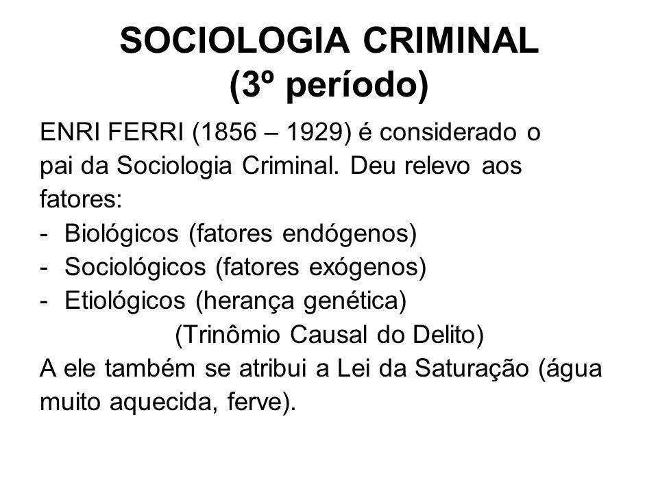 SOCIOLOGIA CRIMINAL (3º período) ENRI FERRI (1856 – 1929) é considerado o pai da Sociologia Criminal. Deu relevo aos fatores: -Biológicos (fatores end