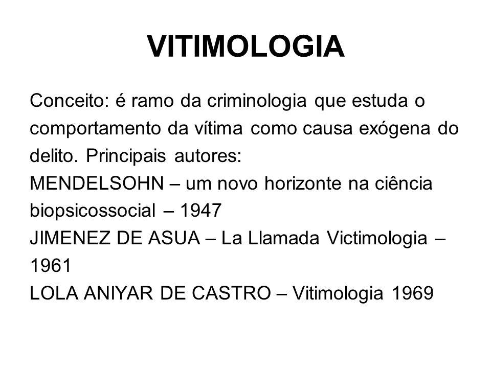 VITIMOLOGIA Conceito: é ramo da criminologia que estuda o comportamento da vítima como causa exógena do delito. Principais autores: MENDELSOHN – um no