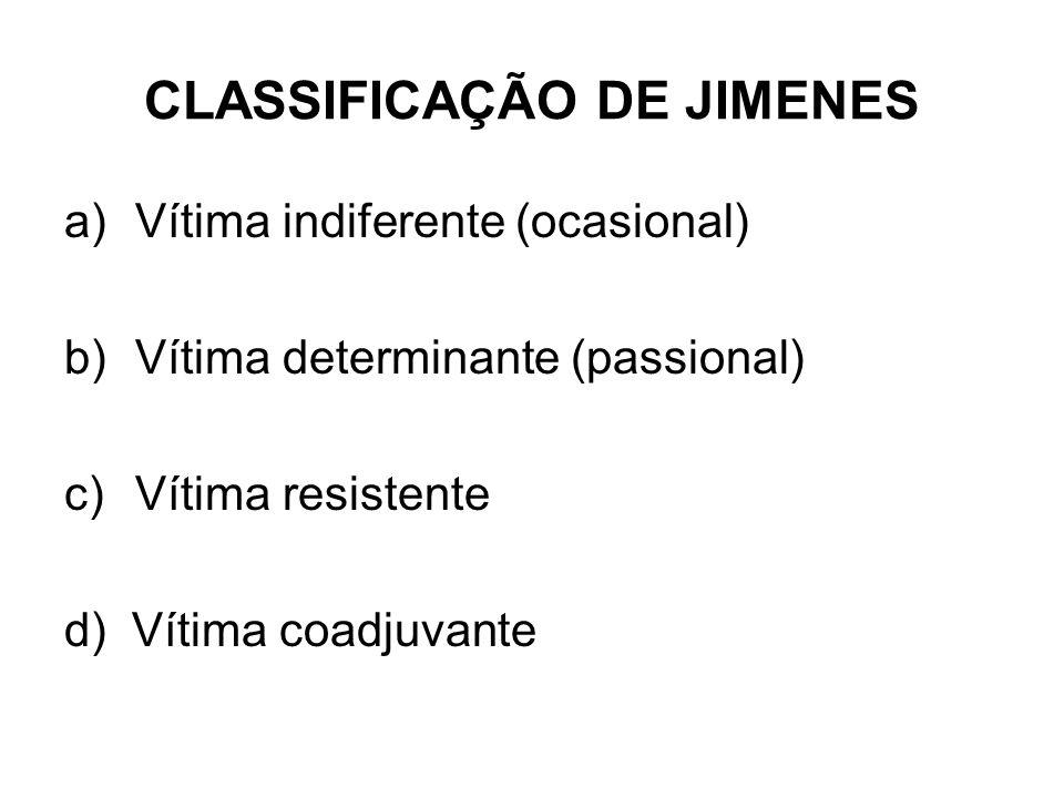 CLASSIFICAÇÃO DE JIMENES a)Vítima indiferente (ocasional) b)Vítima determinante (passional) c)Vítima resistente d) Vítima coadjuvante