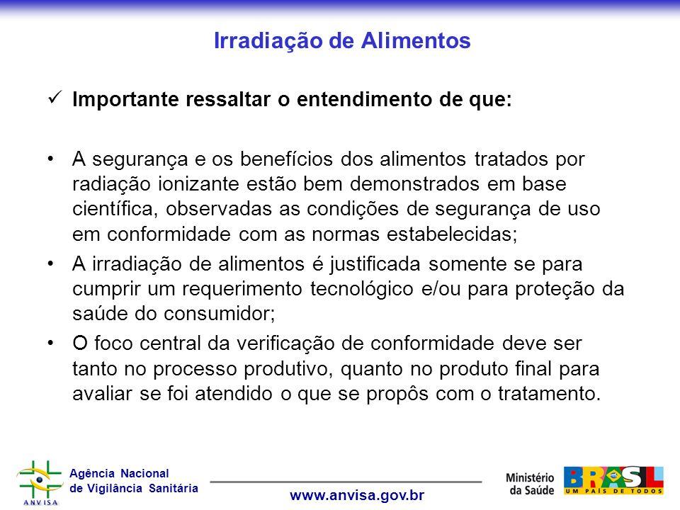 Agência Nacional de Vigilância Sanitária www.anvisa.gov.br Irradiação de Alimentos Importante ressaltar o entendimento de que: A segurança e os benefí