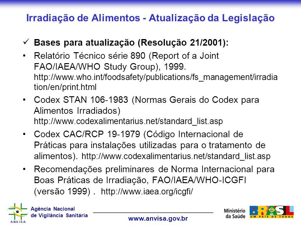 Agência Nacional de Vigilância Sanitária www.anvisa.gov.br Irradiação de Alimentos - Atualização da Legislação Bases para atualização (Resolução 21/2001): Relatório Técnico série 890 (Report of a Joint FAO/IAEA/WHO Study Group), 1999.