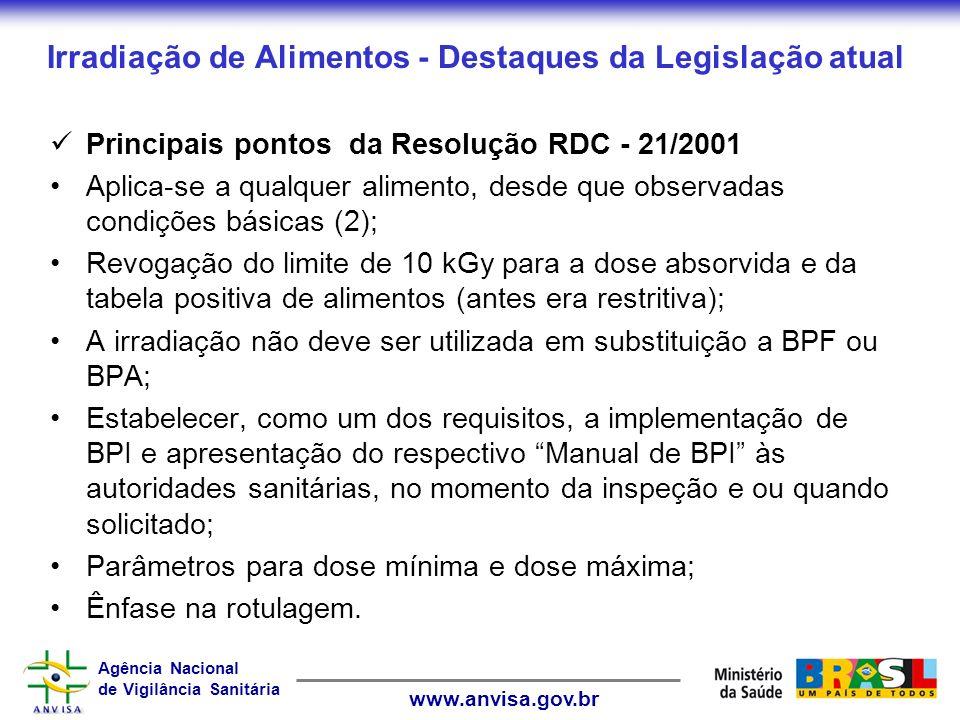 Agência Nacional de Vigilância Sanitária www.anvisa.gov.br Irradiação de Alimentos - Destaques da Legislação atual Principais pontos da Resolução RDC - 21/2001 Aplica-se a qualquer alimento, desde que observadas condições básicas (2); Revogação do limite de 10 kGy para a dose absorvida e da tabela positiva de alimentos (antes era restritiva); A irradiação não deve ser utilizada em substituição a BPF ou BPA; Estabelecer, como um dos requisitos, a implementação de BPI e apresentação do respectivo Manual de BPI às autoridades sanitárias, no momento da inspeção e ou quando solicitado; Parâmetros para dose mínima e dose máxima; Ênfase na rotulagem.