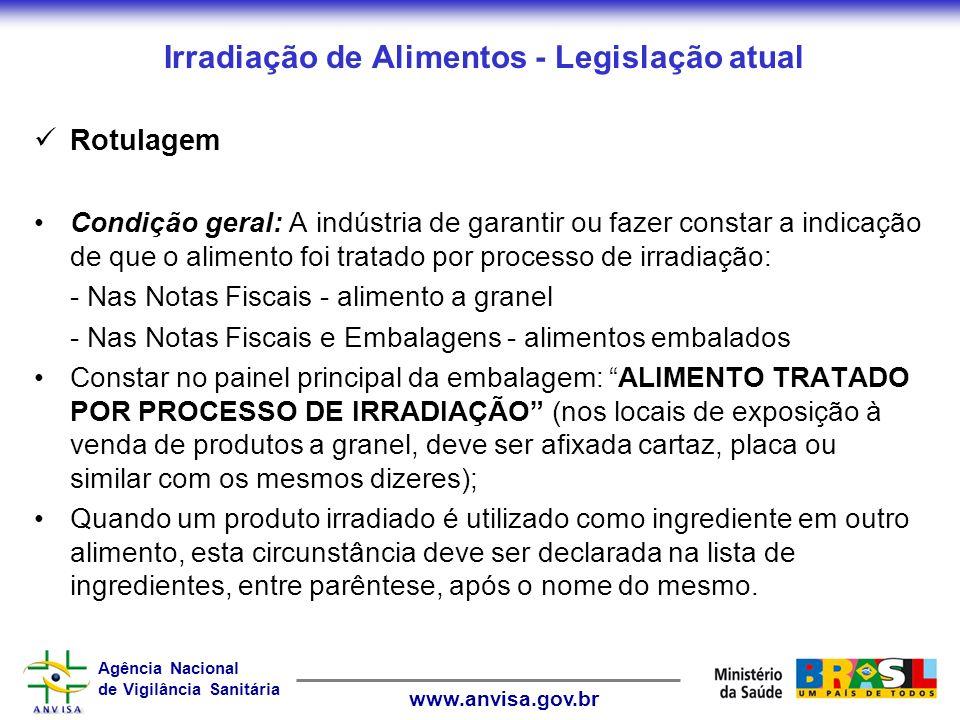 Agência Nacional de Vigilância Sanitária www.anvisa.gov.br Irradiação de Alimentos - Legislação atual Rotulagem Condição geral: A indústria de garanti
