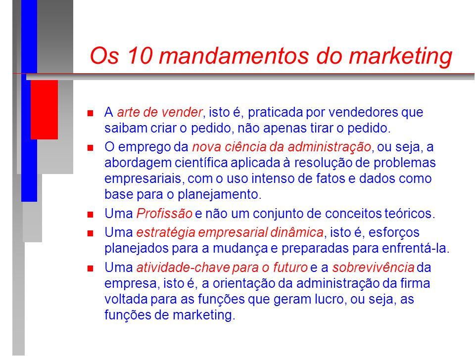 Os 10 mandamentos do marketing n A arte de vender, isto é, praticada por vendedores que saibam criar o pedido, não apenas tirar o pedido. n O emprego