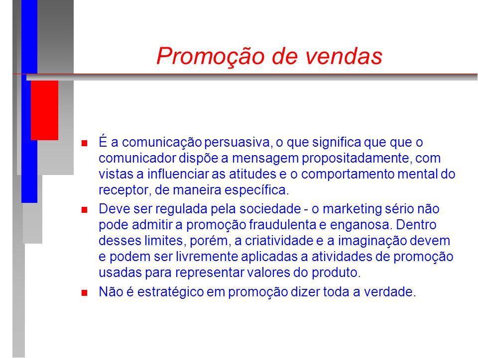 Promoção de vendas n É a comunicação persuasiva, o que significa que que o comunicador dispõe a mensagem propositadamente, com vistas a influenciar as