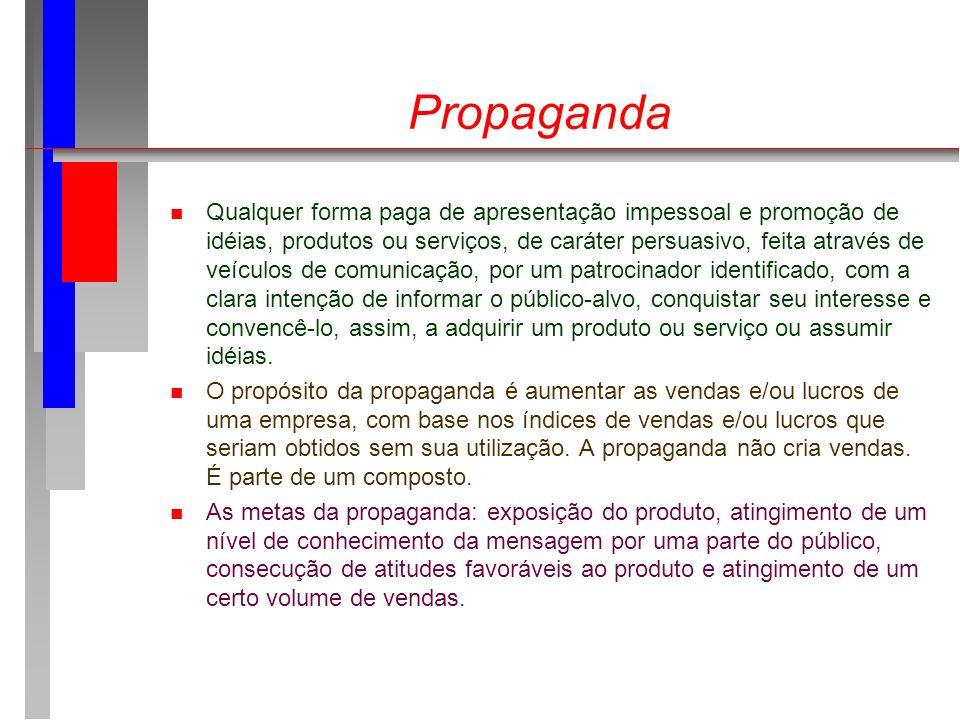 Propaganda n Qualquer forma paga de apresentação impessoal e promoção de idéias, produtos ou serviços, de caráter persuasivo, feita através de veículo