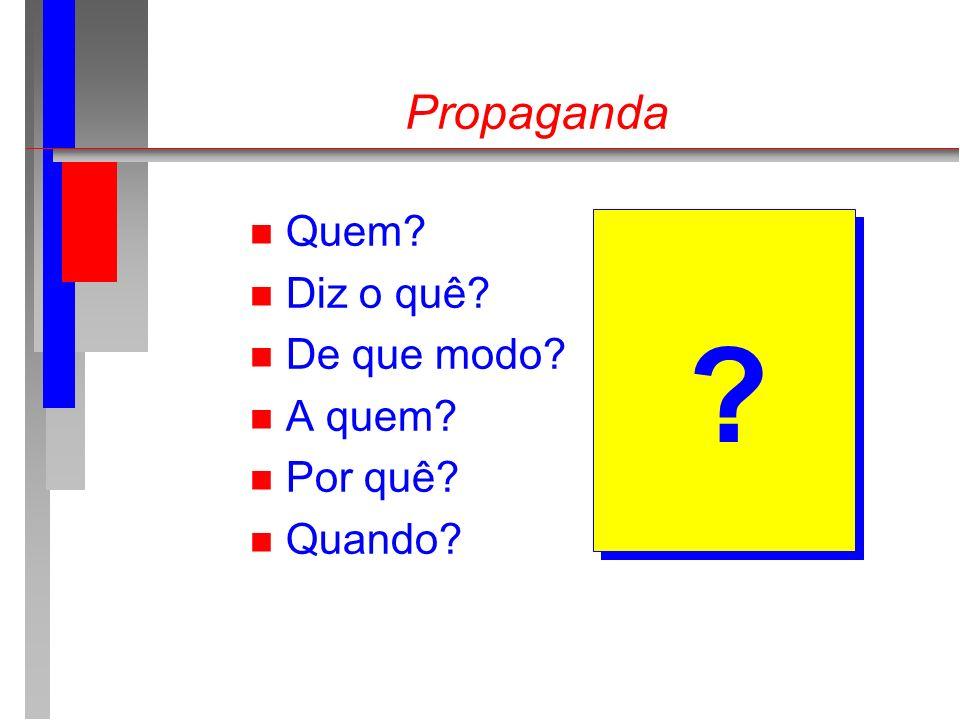 Propaganda n Quem? n Diz o quê? n De que modo? n A quem? n Por quê? n Quando? ?