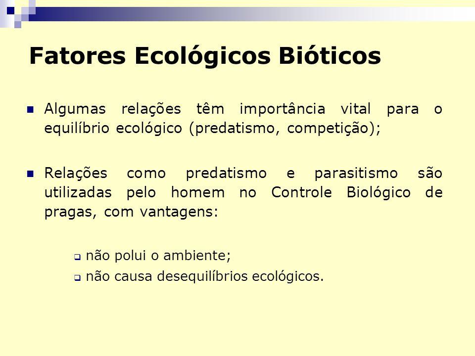 Fatores Ecológicos Bióticos Algumas relações têm importância vital para o equilíbrio ecológico (predatismo, competição); Relações como predatismo e pa