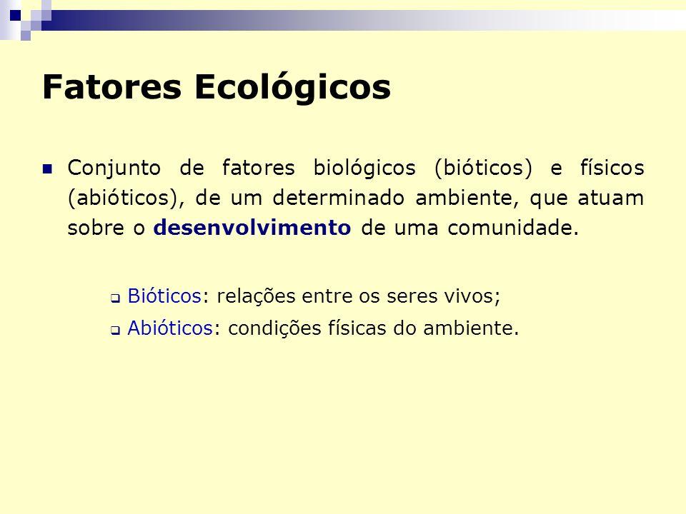 Fatores Ecológicos Conjunto de fatores biológicos (bióticos) e físicos (abióticos), de um determinado ambiente, que atuam sobre o desenvolvimento de u