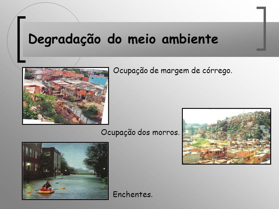 Degradação do meio ambiente Ocupação de margem de córrego. Ocupação dos morros. Enchentes.