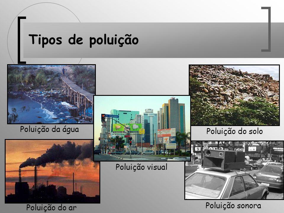 Tipos de poluição Poluição do ar Poluição do solo Poluição da água Poluição sonora Poluição visual