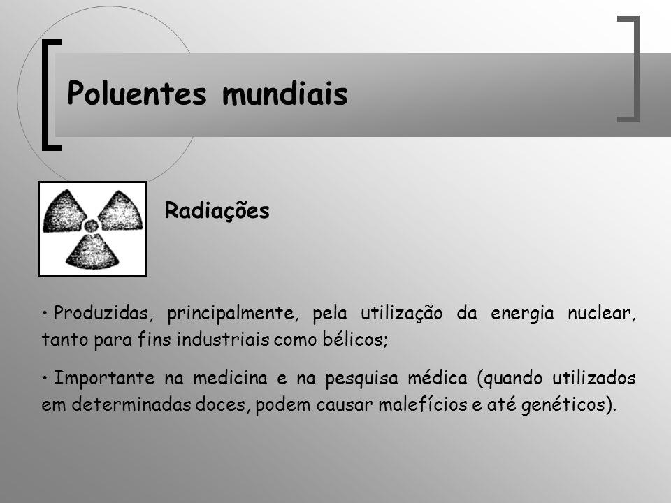 Poluentes mundiais Produzidas, principalmente, pela utilização da energia nuclear, tanto para fins industriais como bélicos; Importante na medicina e