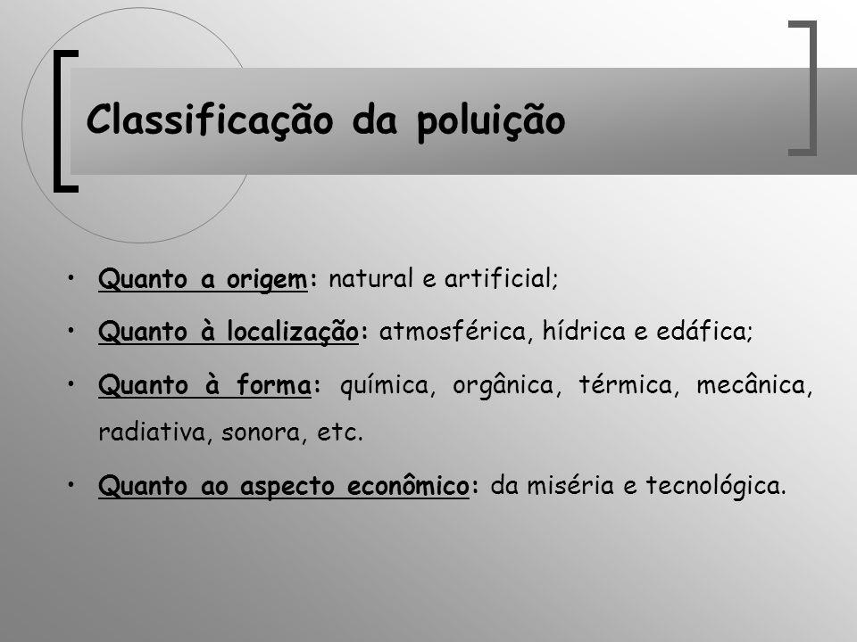 Classificação da poluição Quanto a origem: natural e artificial; Quanto à localização: atmosférica, hídrica e edáfica; Quanto à forma: química, orgâni