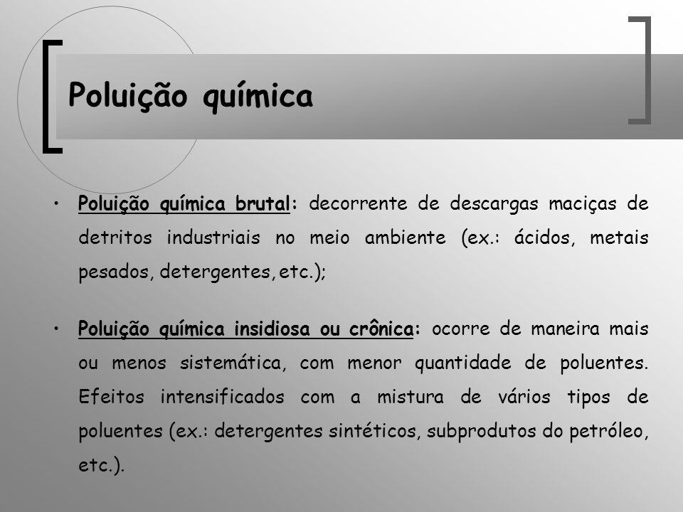 Poluição química Poluição química brutal: decorrente de descargas maciças de detritos industriais no meio ambiente (ex.: ácidos, metais pesados, deter