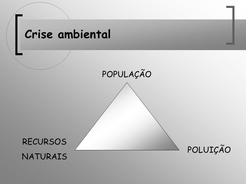 Crise ambiental POPULAÇÃO POLUIÇÃO RECURSOS NATURAIS