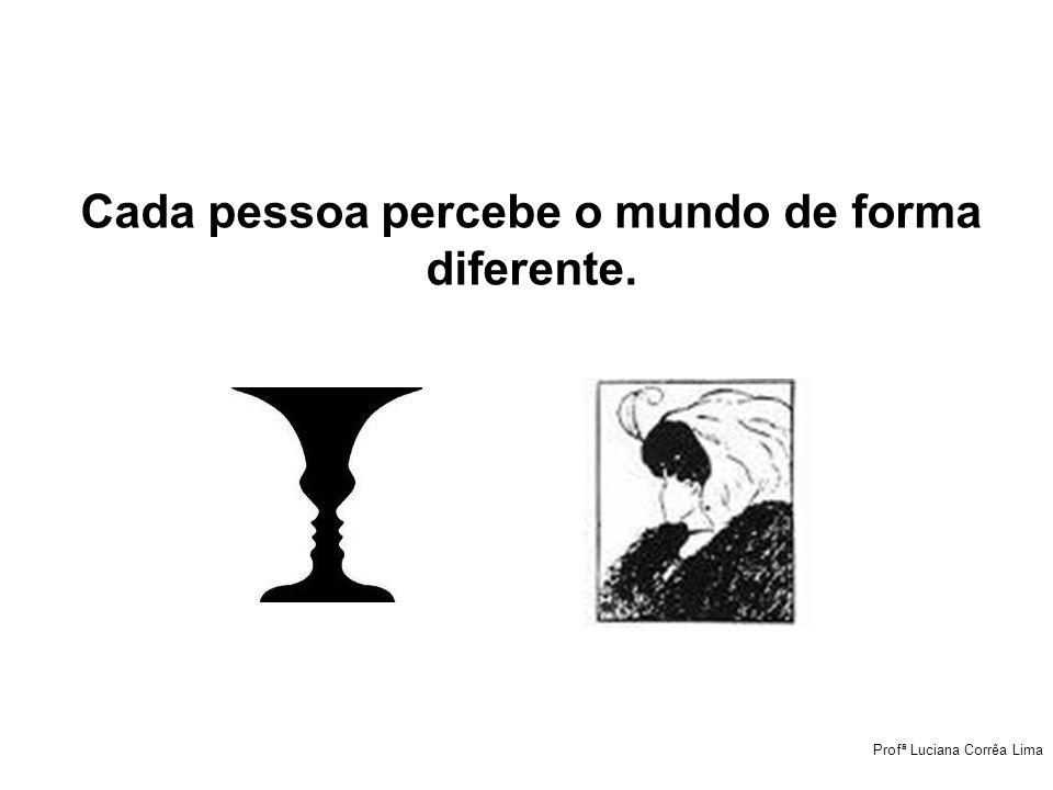 Cada pessoa percebe o mundo de forma diferente. Profª Luciana Corrêa Lima