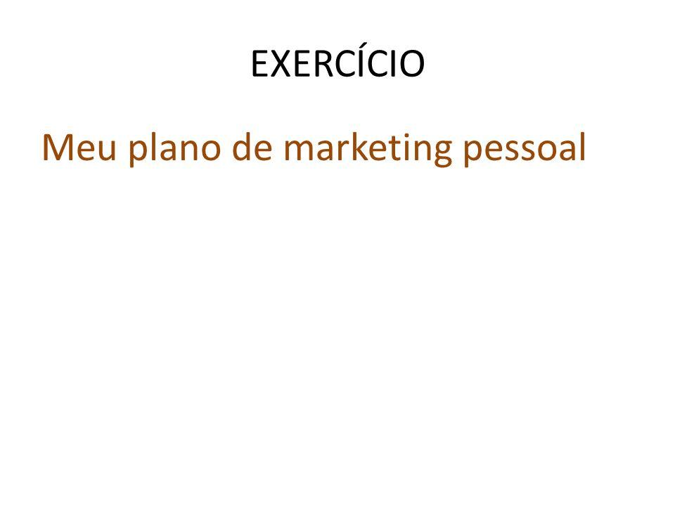 EXERCÍCIO Meu plano de marketing pessoal