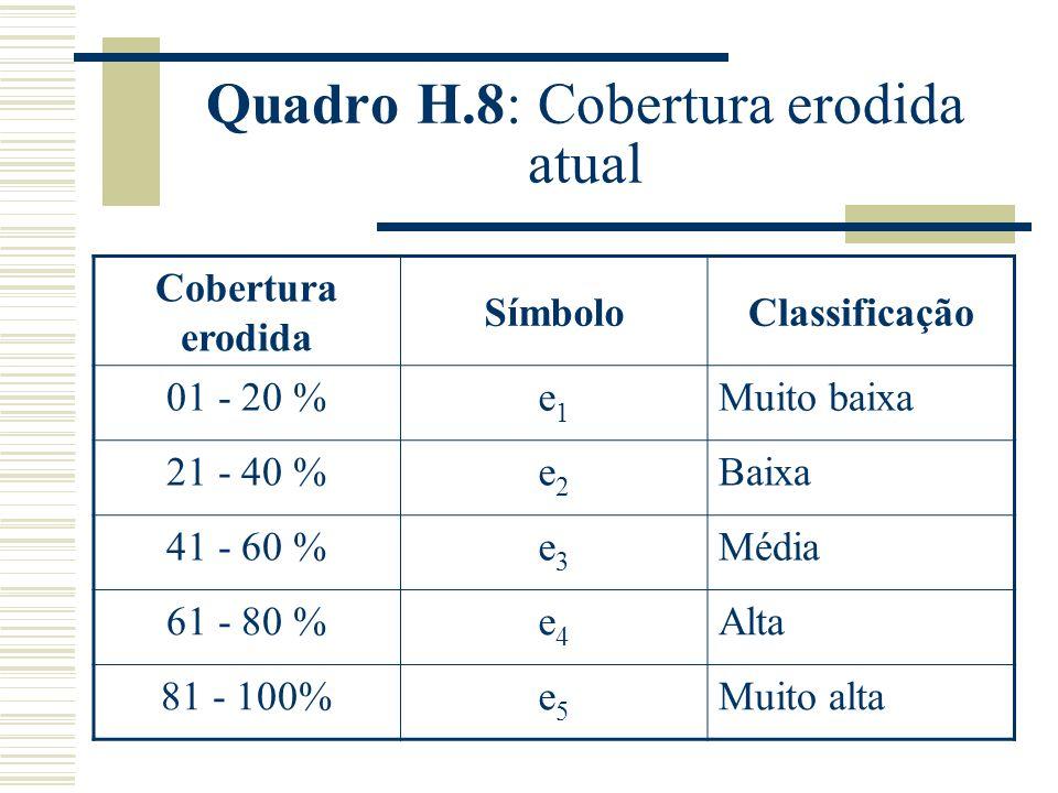 Quadro H.8: Cobertura erodida atual Cobertura erodida SímboloClassificação 01 - 20 %e1e1 Muito baixa 21 - 40 %e2e2 Baixa 41 - 60 %e3e3 Média 61 - 80 %e4e4 Alta 81 - 100%e5e5 Muito alta