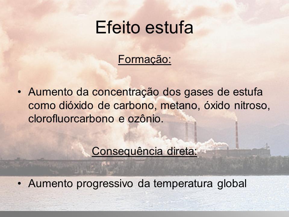 Efeito estufa Formação: Aumento da concentração dos gases de estufa como dióxido de carbono, metano, óxido nitroso, clorofluorcarbono e ozônio.