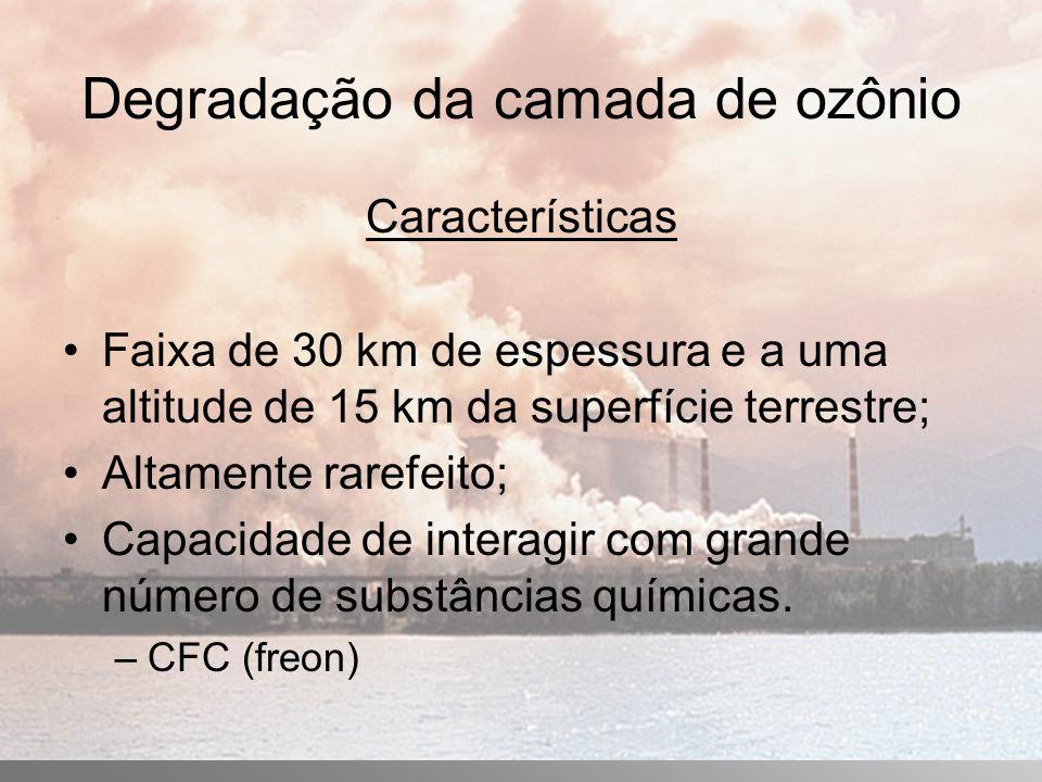 Degradação da camada de ozônio Características Faixa de 30 km de espessura e a uma altitude de 15 km da superfície terrestre; Altamente rarefeito; Capacidade de interagir com grande número de substâncias químicas.