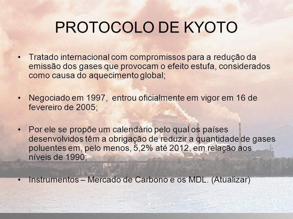 PROTOCOLO DE KYOTO Tratado internacional com compromissos para a redução da emissão dos gases que provocam o efeito estufa, considerados como causa do aquecimento global; Negociado em 1997, entrou oficialmente em vigor em 16 de fevereiro de 2005; Por ele se propõe um calendário pelo qual os países desenvolvidos têm a obrigação de reduzir a quantidade de gases poluentes em, pelo menos, 5,2% até 2012, em relação aos níveis de 1990; Instrumentos – Mercado de Carbono e os MDL.