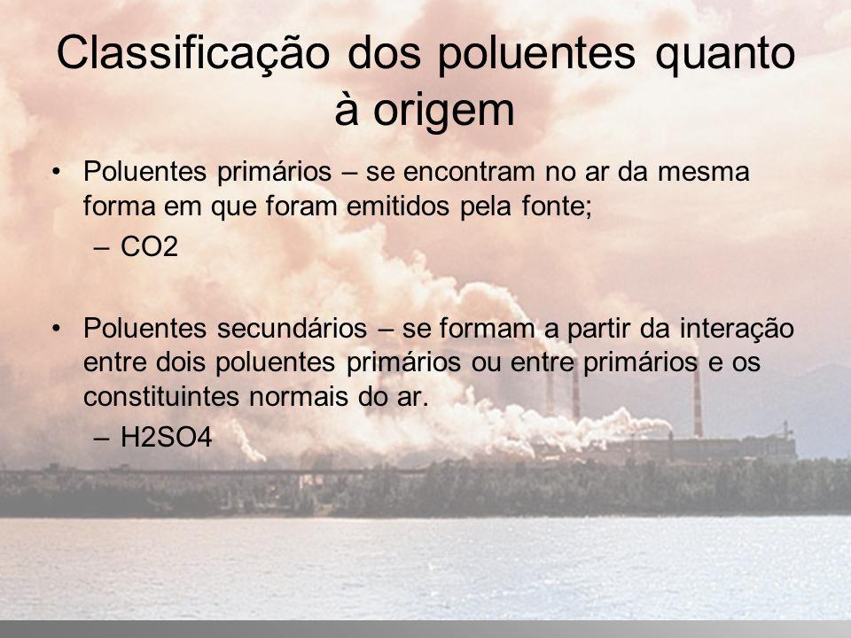 Classificação dos poluentes quanto à origem Poluentes primários – se encontram no ar da mesma forma em que foram emitidos pela fonte; –CO2 Poluentes secundários – se formam a partir da interação entre dois poluentes primários ou entre primários e os constituintes normais do ar.