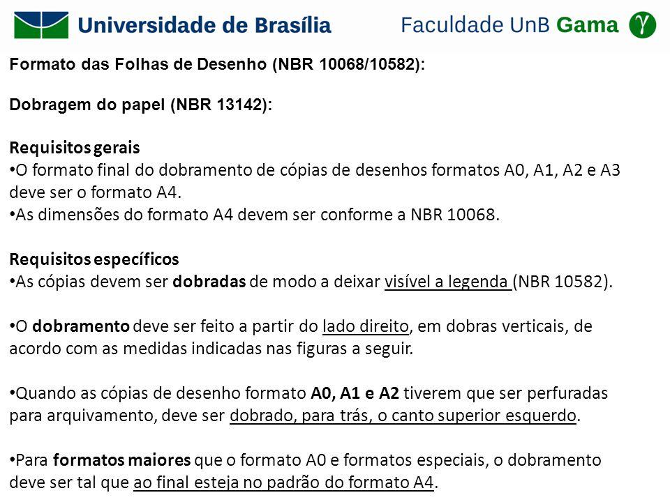 Formato das Folhas de Desenho (NBR 10068/10582): Dobragem do papel (NBR 13142): Requisitos gerais O formato final do dobramento de cópias de desenhos