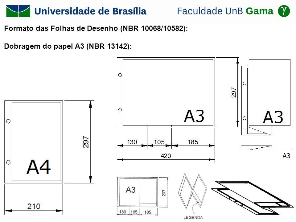 Formato das Folhas de Desenho (NBR 10068/10582): Dobragem do papel A3 (NBR 13142):