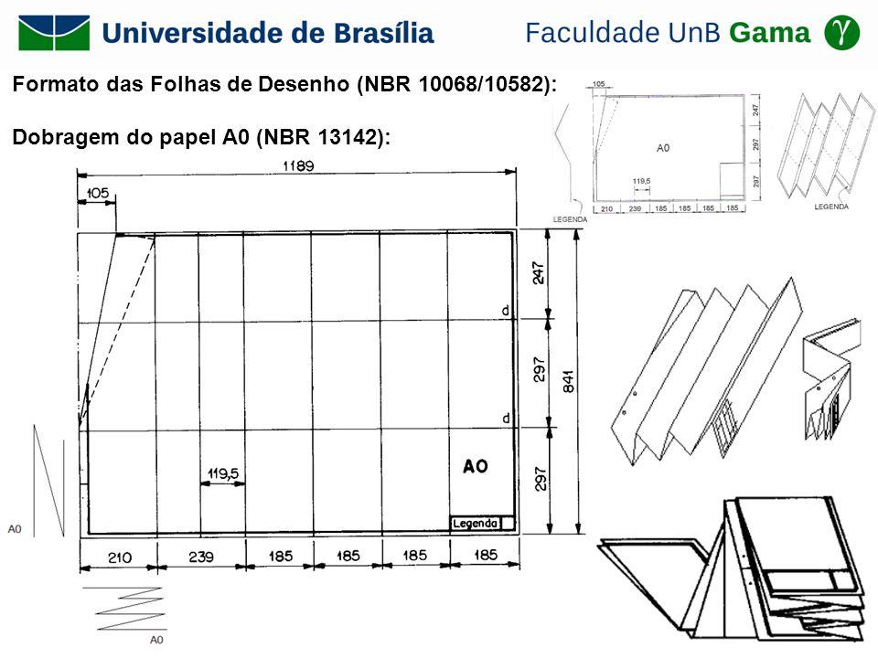 Formato das Folhas de Desenho (NBR 10068/10582): Dobragem do papel A0 (NBR 13142):